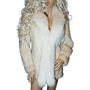 Stunning Vintage Beige/Blonde Mink Fur Coat/Jacket White Fox Fur Trim~Chevron Design