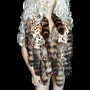 Bloomingdales~S/M~Amazing Vintage Leopard Print Rabbit Fur Vest W/Raccoon Fur Tails