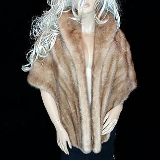 Jordan Marsh~L/XL~Stunning Vintage Autumn Haze/Beige Mink Fur Stole/Wrap/Cape/Jacket