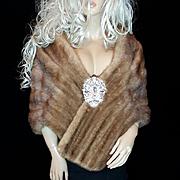 Edwards~Sz~XL~Stunning Vintage Honey Blonde/Autumn Haze Mink Fur Stole/Wrap/Coat