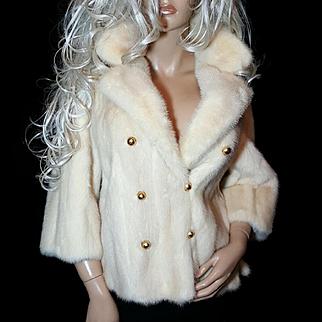 AJ Blatte~Stunning Vintage Blonde/Off White/Ivory Mink Fur Coat/Jacket/Stole