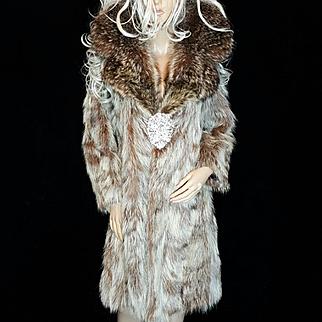 Schiaparelli~SZ S/M~Amazing Vintage Raccoon Fur Coat/Jacket W/Huge Fur Collar