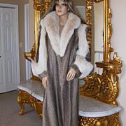 $5000~DESIGNERS LTD.~M/L~Amazing Vintage Nutria/Shadow Fox Full Length Fur Coat