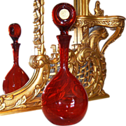 "AMAZING Huge 20"" Vintage Red Art Glass/Hand Blown Coin Decanter~BLENKO Style"