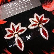 $250~SWAROVSKI~Vintage Ruby Red/Clear Crystal/Rhinestone Drop Statement Earrings