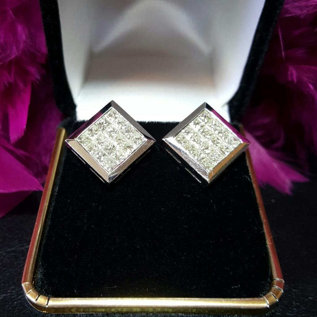 $8000~Amazing 18KT White Gold Invisible Princess Cut Diamond Omega Back Pierced Earrings