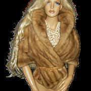 RICHLAND FURS~Stunning Vintage Autumn Haze Plush Mink Fur Cape Stole Wrap Coat