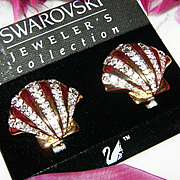 NWT~$85~SWAROVSKI~Stunning Vintage Goldtone Crystal Shell Clip Runway Earrings