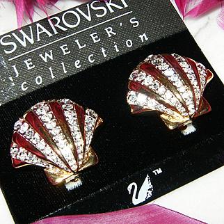 NWT~$85~SWAROVSKI~Stunning Vintage Goldtone Crystal Shell Clip Runway Earrings