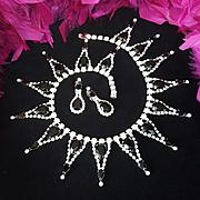 DOMINIQUE~Huge Vintage Black/Clear Crystal/Rhinestone Runway Necklace/Earrings