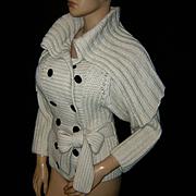 New Vintage~$715~CATHERINE MALANDRINO~Sz S~Gorgeous Ivory Baby Alpaca Cardigan Sweater