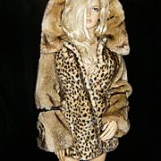 LE MANG~4/6~Amazing Faux Mink Fur Animal/Leopard Print Embellished Hooded Coat