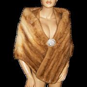 JAVUREK FURS~M/L~Beautiful Vintage Honey Blonde Mink Fur Stole/Wrap/Coat/Cape