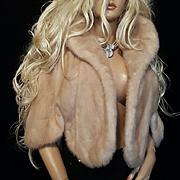 JACOBSONS~Vintage Fur label Authority Blonde Mink Fur Stole/Wrap/Shawl/Shrug