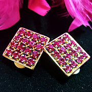 SIGNED SWAROVSKI~Stunning Vintage Large Pink Crystal Runway Statement Clip Earrings