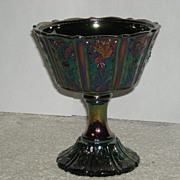 1970's, Fenton, Black Amethyst, Paneled Daisy, Carnival Glass Compote - Red Tag Sale Item