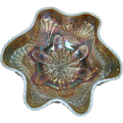 "Dugan, Peach Opalescent, Petal & Fan, 6"" Carnival Glass Berry Bowl"