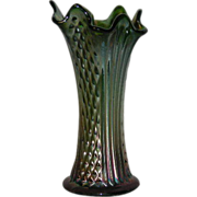 "Fenton, Green, 8 1/4"", Diamond Points & Columns, Carnival Glass Vase"