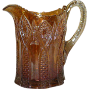 Scarce, Marigold, Hobstar Band, Carnival Glass Water Pitcher
