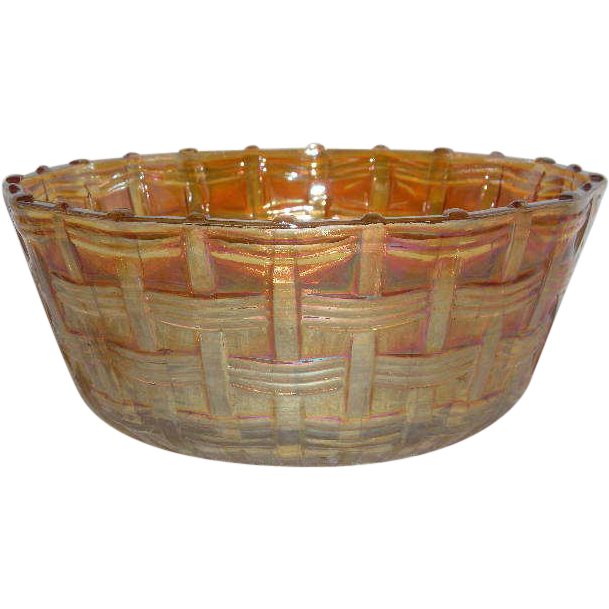 Rare, Dugan, Marigold, Big Basketweave, Carnival Glass Nut Bowl