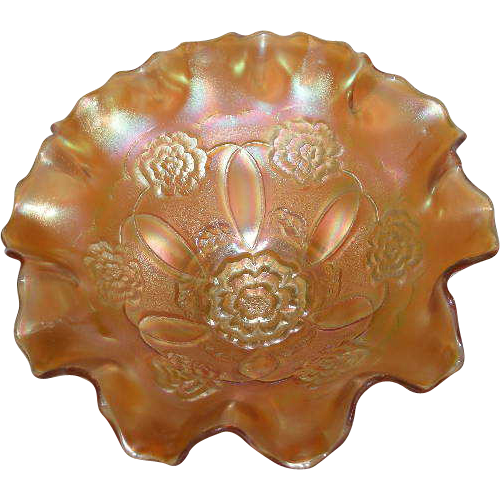 Dugan, Marigold, Double Stem Rose, Carnival Glass, Domed Base Bowl