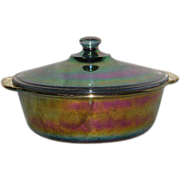 Blue, Fire King, 2 Qt., Carnival Glass, Covered Casserole Dish
