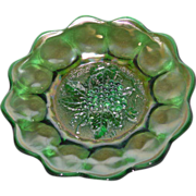 "Imperial, Green, 8"", Heavy Grape, Carnival Glass Plate"