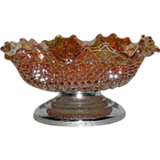 Sowerby, English Hobb & Button, Marigold Carnival Glass Bowl on Metal Base