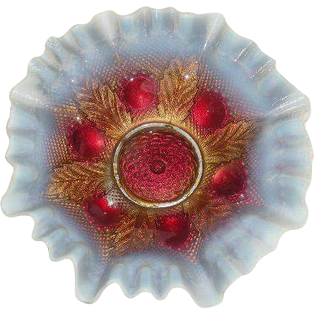 Northwood, White Opalescent, Bullseye & Leaves Bowl W/Goofus Decoration