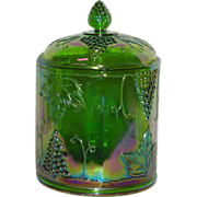 Green, Indiana Harvest, Carnival Glass Cookie Jar