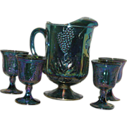 Blue, Indiana Harvest, 5 Pc. Carnival Glass Water Set