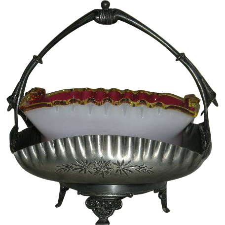 Webb, Square, Amber Crested Peach Blow Brides Bowl, W/Meriden Quadruple Plate Basket