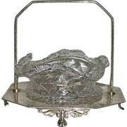 Small, Victorian Art Glass, Bride's Basket w/Silverplate Stand