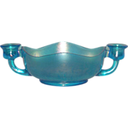 Dugan, Jewels, Celeste Blue, Carnival Glass Candle Bowl