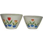 Pair, Fire King, Tulip, Stacking Mixing Bowls