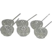 Set of Six, Crystal, Open Salts W/Five Glass Salt Spoons