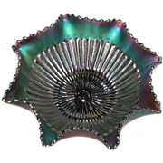 Northwood, Amethyst, Stippled Rays, 8 Ruffled Carnival Glass Bowl
