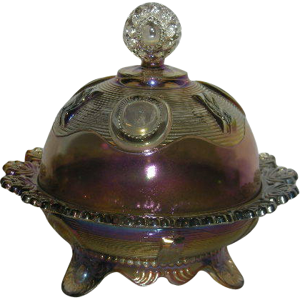 Imperial, Smoke, Dewey, Carnival Glass Butter Dish