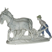 Gerold Porzellan, West German, Man Plowing W/Mules, Porcelain Figurine