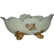 Northwood, Chrysanthemum Sprig, Gold Decorated, Custard Glass Banana Bowl