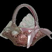 Fenton, Pink, Rose Pattern Gift Basket
