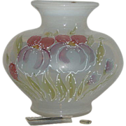 Fenton, Enamel Decorated, White Opalescent Bulbous Vase