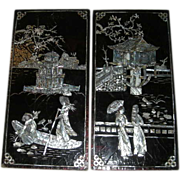 Pair, Oriental, Black and Red Lacquered W/Mother of Pearl/Abalone Inlay Pictures