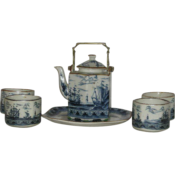 6 Pc., Andrea by Sadek, Blue & White, Ships, Pottery Tea Set
