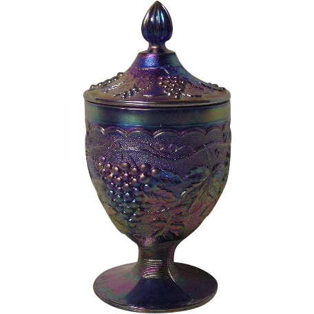 Contemporary, Imperial Grape, Electric Blue Covered Candy Dish