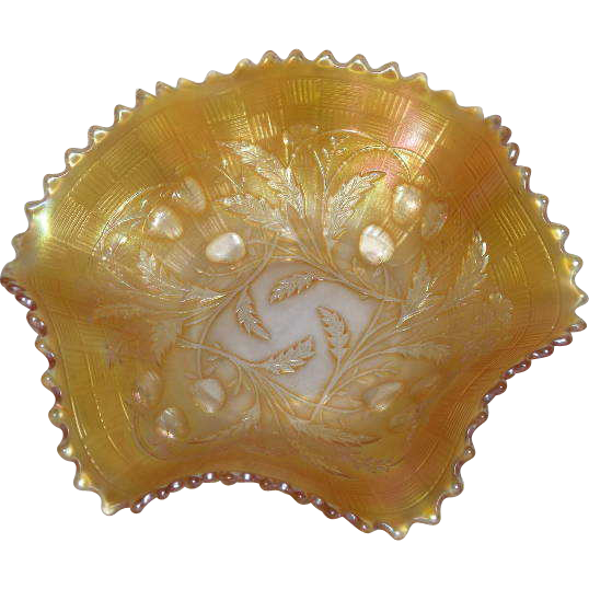 "Northwood, Marigold, Wild Strawberry, 7 1/2"" Carnival Glass Bowl"