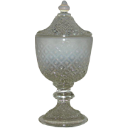 Fenton, White Opalescent, Diamond Lace Covered Compote