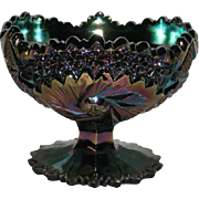 Large, Fenton, Contemporary, Whirling Star, Black Carnival Glass Compote
