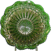 Millersburg, Green, Rays and Ribbons, Carnival Glass Bowl