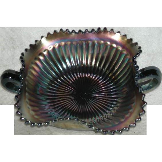 Northwood, Square, Amethyst, Smooth Rays Carnival Glass Bon Bon